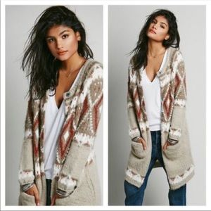 Free people frosted fair isle cardigan sweater